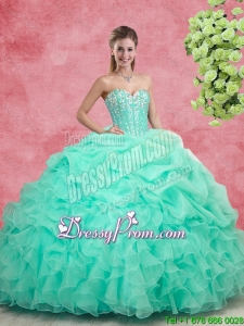Beautiful Beaded Apple Green Quinceanera Gowns with Ruffles