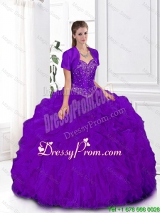 2015 Winter Elegant Pretty Ball Gown Sweetheart Quinceanera Gowns in Purple