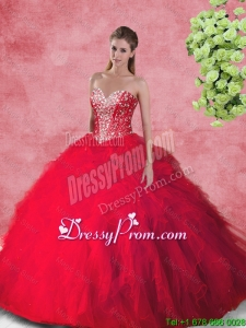 2016 Spring Fashionable Ball Gown Quinceanera Dresses with Beading and Ruffles