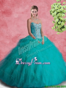 2016 Summer Perfect Strapless Sweet 16 Dresses with Beading and Ruffles