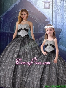 2016 Spring Classical Ball Gown Sweetheart Appliques Macthing Sister Dresses in Black