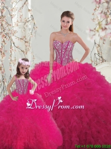 2016 Spring Classical Ball Gown Beaded and Ruffles Macthing Sister Dresses in Hot Pink