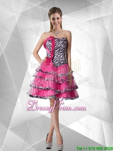 2016 Spring Elegant A Line Strapless Zebra Prom Dresses with Ruffled Layers