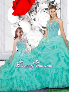 2016 Spring New Style Ball Gown Straps Macthing Sister Dresses in Turquoise