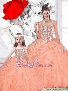 2016 Spring Popular Ball Gown Straps Beaded Macthing Sister Dresses