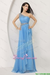 Discount Beaded Baby Blue Prom Dresses 2016 with One Shoulder