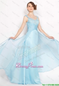 Perfect Straps Ruched Light Blue Prom Dresses 2015 with Beading