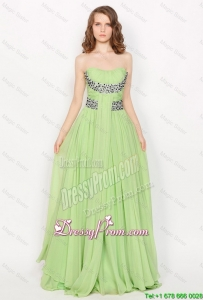 Popular Strapless Brush Train Prom Dresses in Apple Green