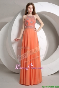 Elegant Beaded Empire Orange Prom Dresses 2016 with Halter Top