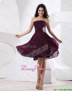 Luxurious Strapless Brown Short Prom Dress 2015 with Appliques