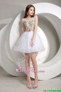 Popular A Line Beaded Mini Length Prom Dresses 2015 in White