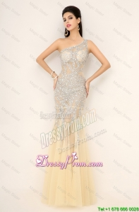 Elegant Champagne One Shoulder Prom Dresses with Side Zipper