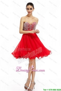 Exclusive A Line Sweetheart Beaded Prom Dresses in Red