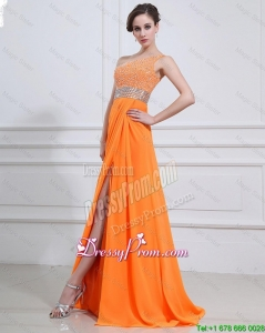 Popular Beading and High Slit Orange Prom Dresses with Brush Train