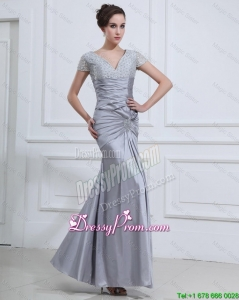 Wonderful Mermaid V Neck Prom Dresses with Beading 2016 in Silver