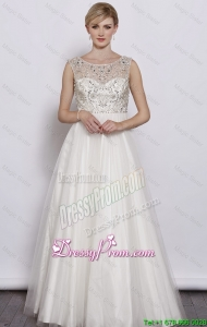 Beautiful A Line Scoop White Prom Dresses 2015 with Beading