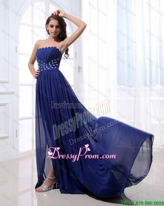 Gorgeous Beading Brush Train Strapless Prom Dresses 2016 in Royal Blue