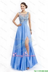 Gorgeous Brush Train Prom Dresses with Appliques and High Slit