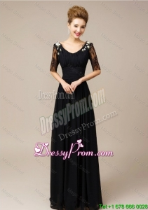 Best Half Sleeves Laced Black Prom Dresses with V Neck