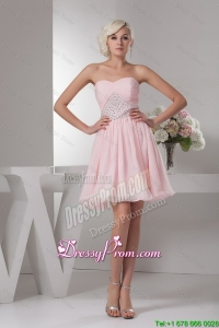 Best Sweetheart Baby Pink Short Prom Dress with Beading