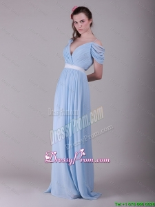 Best Spaghetti Straps Light Blue Prom Dresses with Ruching and Belt