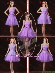 2016 Popular Laced Lilac Dama Dresses with A Line