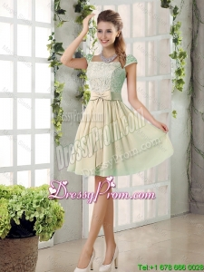 2016 Spring A Line Square Dama Dresses with Bowknot
