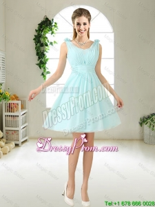 Comfortable Straps Light Blue Dama Dresses with Hand Made Flowers