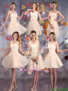 Delicate Champagne Dama Dresses with Hand Made Flowers