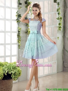 Perfect A Line Square Lace Dama Dresses with Bowknot