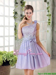 Custom Made A Line One Shoulder Lace and Bowknot Prom Dresses