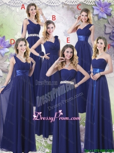 New Style Empire Floor Length Dama Dresses in Navy Blue