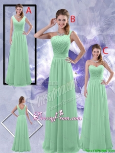 Perfect Zipper up Ruched Prom Dresses in Apple Green