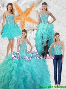 2015 Fall Gorgeous Aqua Blue Detachable Quinceanera Gowns with Beading and Ruffles