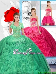 Beaded and Ruffles Inexpensive Detachable Quinceanera Dresses for 2016 Spring