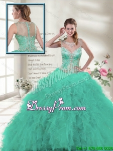 Discount 2016 Spring Scoop Ruffles Sweet 16 Dresses in Turquoise