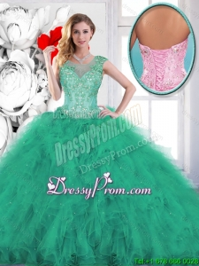 Fashionable Beading and Appliques Sweet 16 Gowns in Turquoise