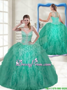 Fashionable Scoop Turquoise Quinceanera Gowns with Zipper Up