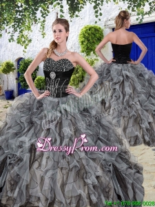 New Arrivals Beaded and Ruffles Sweet 16 Dresses in Black