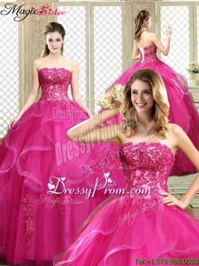 Classical Strapless Fuchsia Sweet 16 Dresses with Appliques