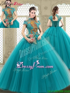 Luxurious High Neck Appliques Sweet 16 Dresses with Short Sleeves
