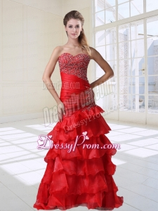 Mermaid Red Party Sexy Beaded Sweetheart Organza Floor Length Prom Dress with Ruffles