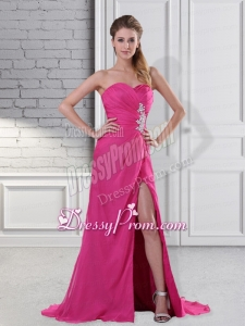 Popular Hot Pink Sweetheart Prom Dress with Beading and High Slit