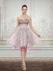 2015 Leopard and Organza Light Pink Sleeveless Sweetheart Prom Dress