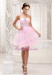 2015 Strapless Lovely Beaded Bodice Prom Dress in Baby Pink