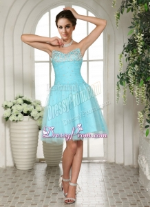 2015 Sweetheart A Line Aqua BLue Prom Dress with Beading