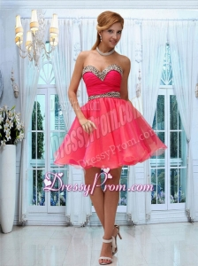 Cute Coral Red Sweetheart Ruching Cocktail Dress for 2015