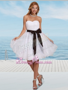 Simple White Organza Sweetheart Prom Dress with Ruching and Sash