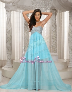 Special Design Sweetheart Beaded Aque Blue Prom Dress with Brush Train