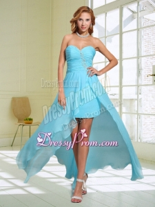 2015 Aque Blue Modest Column Sweetheart Prom Dress with Beading and Ruching